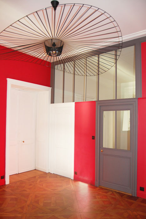 rénovation d'un appartement - entrée peinture luminaire et parquet - Nantes 44