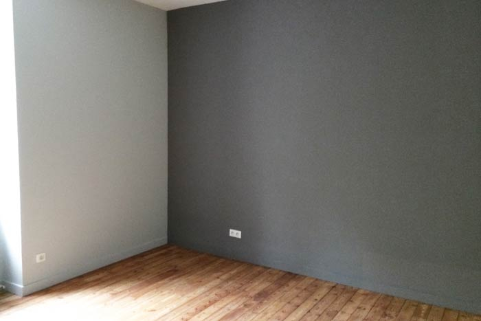 Rénovation d'une maison - Détail chambre parquet et peinture - La Roche-sur-Yon