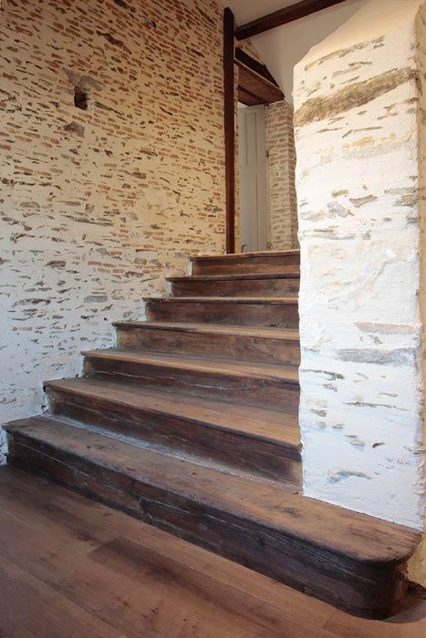 Rénovation - Escalier bois restauré - Beaupréau 49