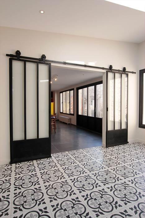 Rénovation - Verrière coulissante métal et carreaux de ciment - Beaupréau 49