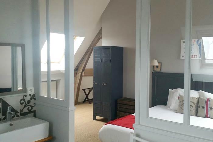 Vue chambre depuis la SDB avec verrière - Orvault 44