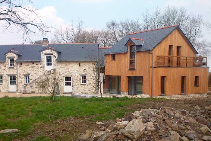Extension bardage bois après les travaux - Nantes nord
