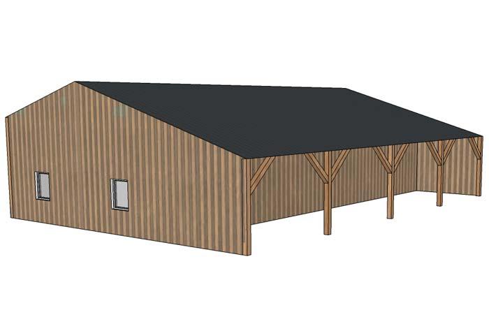Conception 3D hangar forestier