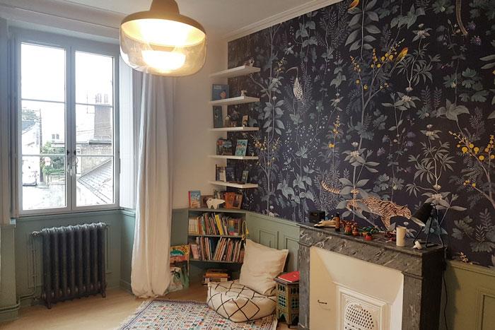 Papier peint chambre - Rénovation totale maison Nantes