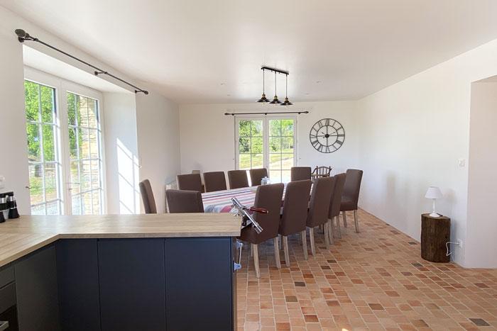 Salle à manger - Rénovation longère en gîte 35